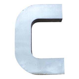 "Antique Industrial Stainless Steel Metal Letter ""C"""
