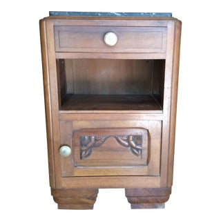 Dark Gray Marble Top French Art Nouveau Nightstand
