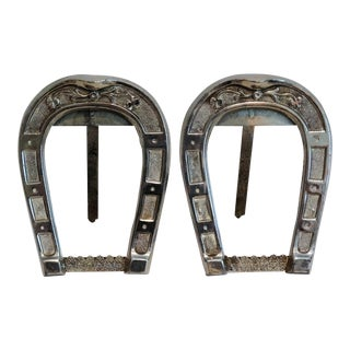 Antique Equestrian Horseshoe Silver Photo Frames, Pair
