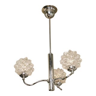 1960s Mid-Century Modern Chrome Light With Spiked Glass Globes