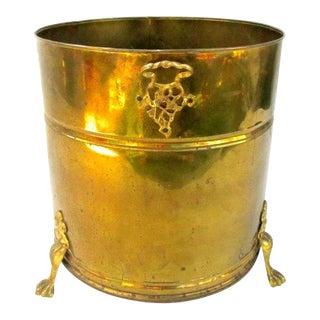 Oversized Vintage Brass Footed Jardinière