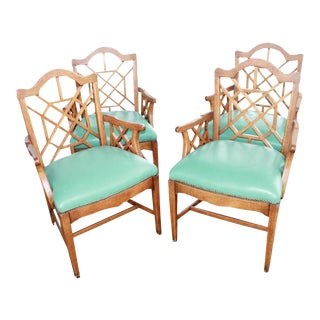 Vintage Chinese Chippendale Wooden Fretwork Dining Arm Chairs - Set of 4