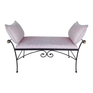 Hollywood Regency Wrought Iron Settee Bench