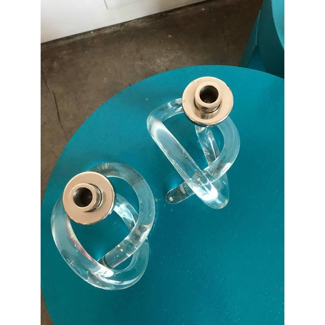 Image of Pair of Dorothy Thorpe Lucite and Silver Pretzel Candlestick Holders