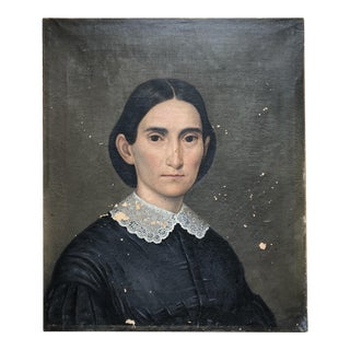 19th Century Southern Woman Portrait Oil on Canvas Painting