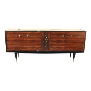 Beautiful French Art Deco Macassar Ebony Sideboard / Buffet with diamond Mother-of-Pearl Center , circa 1940s.