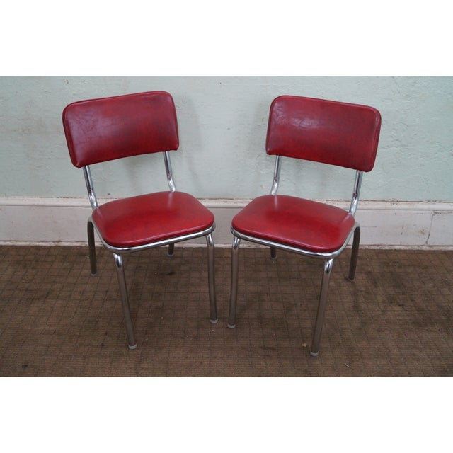 1950s Vintage Chrome Amp Red Vinyl Dining Chairs Chairish