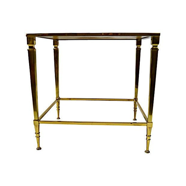 Image of Neoclassical Brass & Glass Auxiliary Side Table