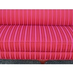 Image of Vintage Pink/Red Ball and Clawfoot Camelback Sofa