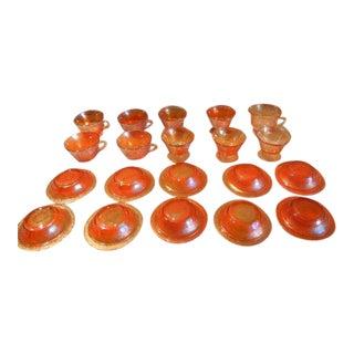 Vintage Fentin Marigold Glass Set - 20 Pieces