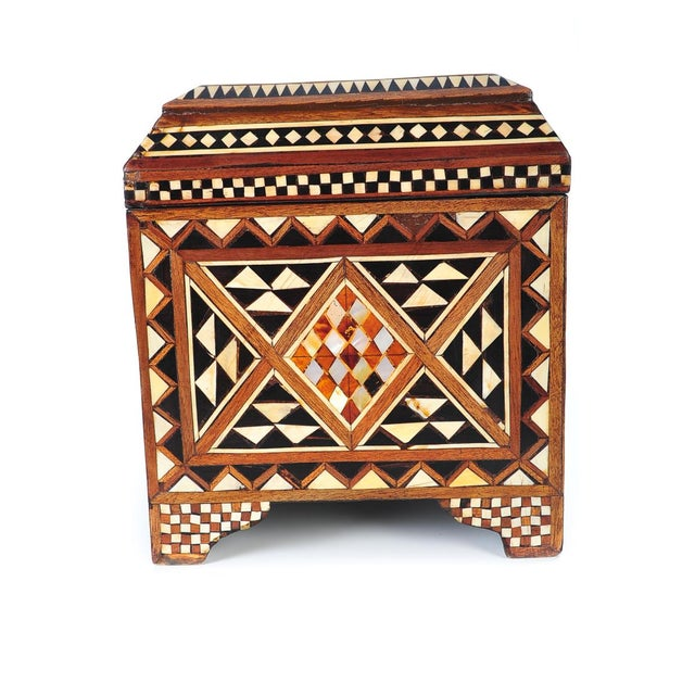 19th Century Syrian Inlaid Wooden Treasure Chest - Image 6 of 9