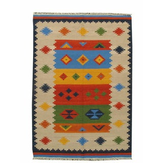 "Geometric Primary Multi-color Kilim - 5'5""x7'10"""