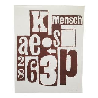 "Original Signed Dada Artist's Print ""Mensch"""