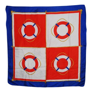 Vintage Blue & Red Nautical Scarf