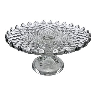 Antique Art Deco Fosteria American Clear Crystal Cake or Pastry Stand