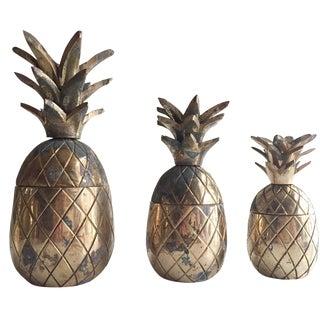 Vintage Brass Pineapple Trinket Holders - Set of 3
