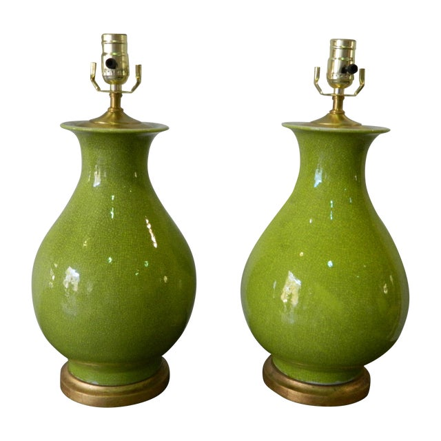 Seaweed Green Crackle Table Lamps - A Pair - Image 1 of 8