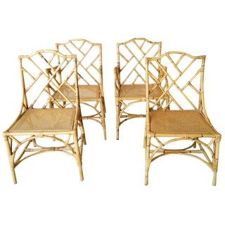Rattan Chinese Chippendale Chairs - Set of 4