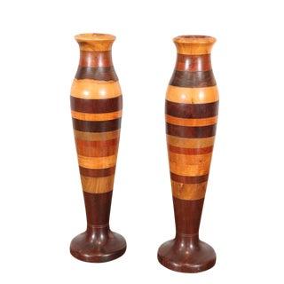 Wood Specimen Vases - A Pair