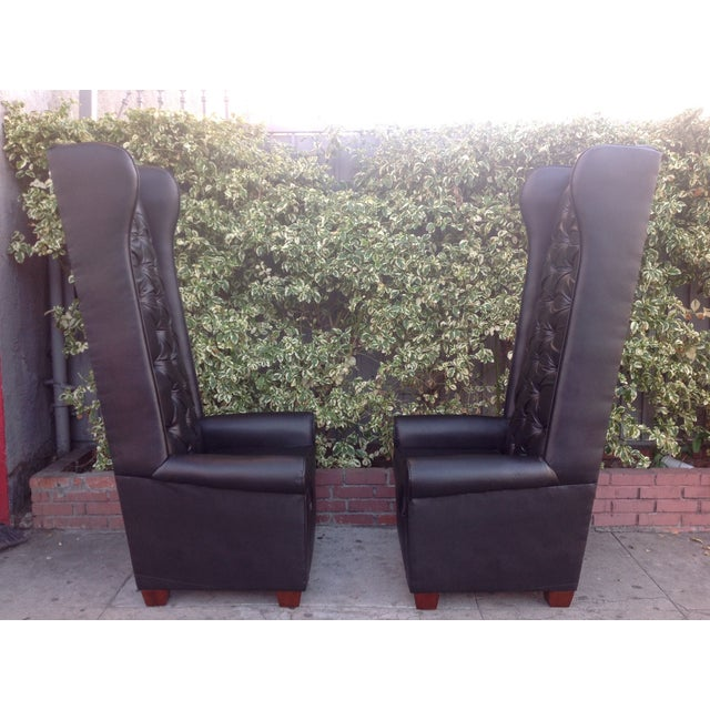 Black Tall Tufted Chairs - A Pair - Image 5 of 6
