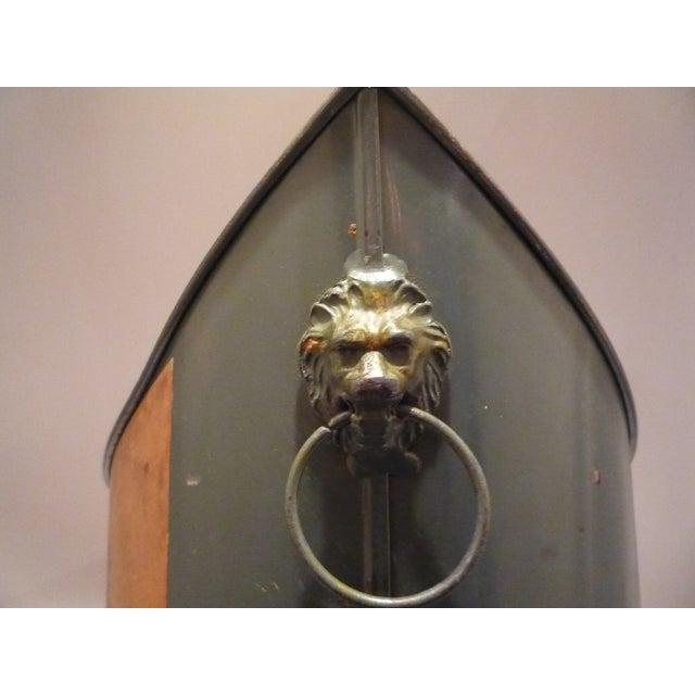 Image of Vintage Tole Regency Wastebasket Lion Head