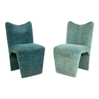 Postmodern Memphis Style Upholstered Chairs Turquoise Green, 1990s - A Pair