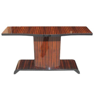 Monumental French Art Deco Macassar Ebony Console Table Circa 1940s.