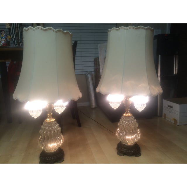 Vintage Brass & Crystal Lamps - Pair - Image 10 of 11