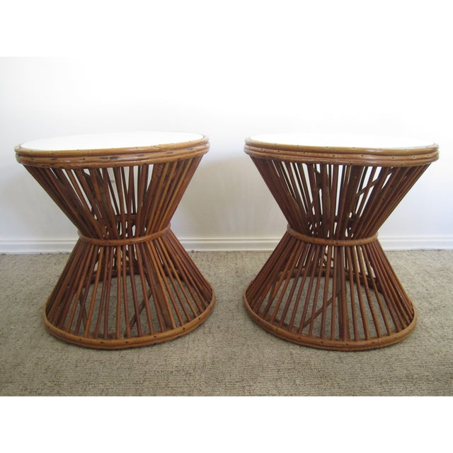 Franco Albini-Style Rattan Side Tables - A Pair - Image 3 of 8