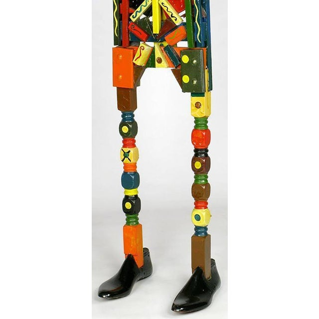 Signed Colorful Folk Art Lifesize Jester Sculpture - Image 6 of 7