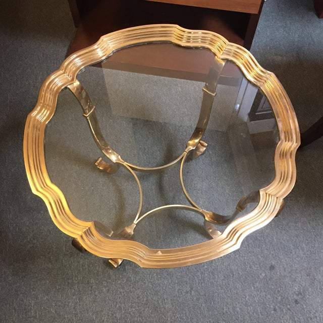 Vintage Scalloped Brass & Glass Side Table - Image 3 of 7