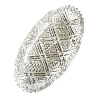Vintage Lead Cut Crystal Serving Dish