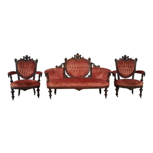 Antique Eastlake Heart-Back Red Velvet Settee & Chairs- Set of 3 - Image 1 of 9
