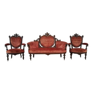 Antique Eastlake Heart-Back Red Velvet Settee & Chairs- Set of 3