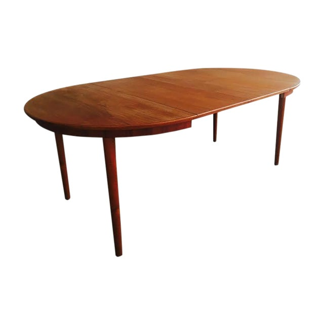 mid century modern danish teak round dining table chairish. Black Bedroom Furniture Sets. Home Design Ideas