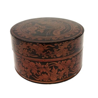 Antique Round Lacquered Lidded Box