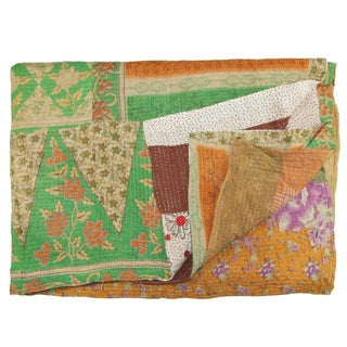 Vintage Green & Orange Kantha Quilt