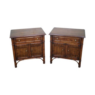 Drexel Heritage Faux Bamboo Nightstands - A Pair