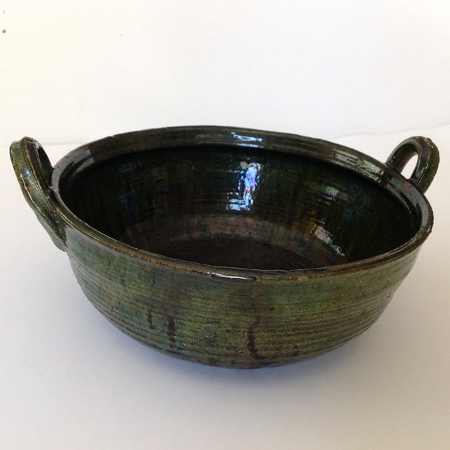 Image of Vintage Rustic Green Studio Pottery Bowl