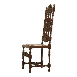 Antique French Hand Carved Needlepoint Seat Side Chair