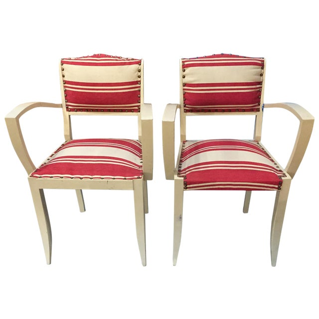 Pair, 1930's French ArmChairs, Red Stripes - Image 1 of 10