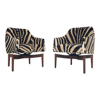 Jens Risom Walnut Swivel Chairs - A Pair