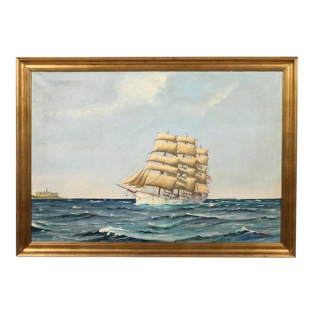 "Danish Painting ""Sailing Ship"" - Image 1 of 3"