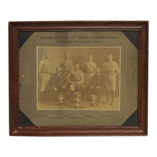 """Antique Framed """"Worlds Tug of War Champions"""" Photograph"""