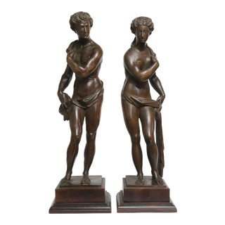 Antique Carved Classical Figures - A Pair