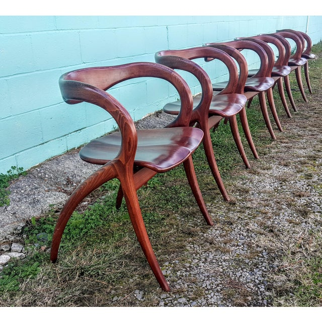 Vintage Solid Curved Cherry Wood Dining Chairs - Set of 6 - Image 9 of 9
