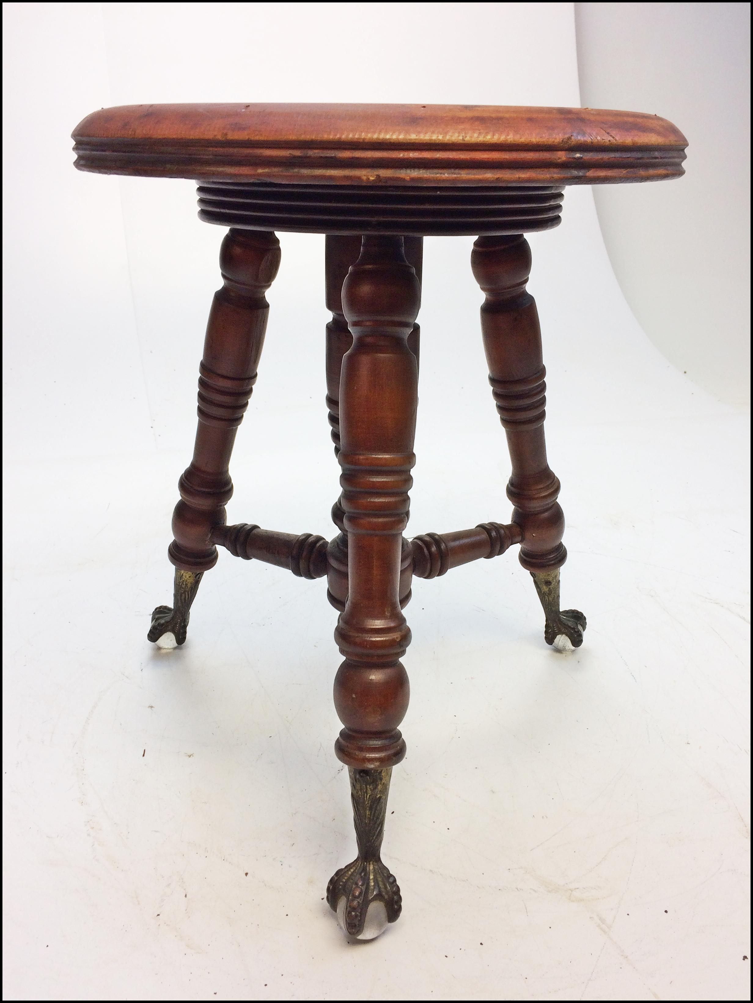 Victorian Carved Wood Piano Stool With Ball Amp Claw Feet