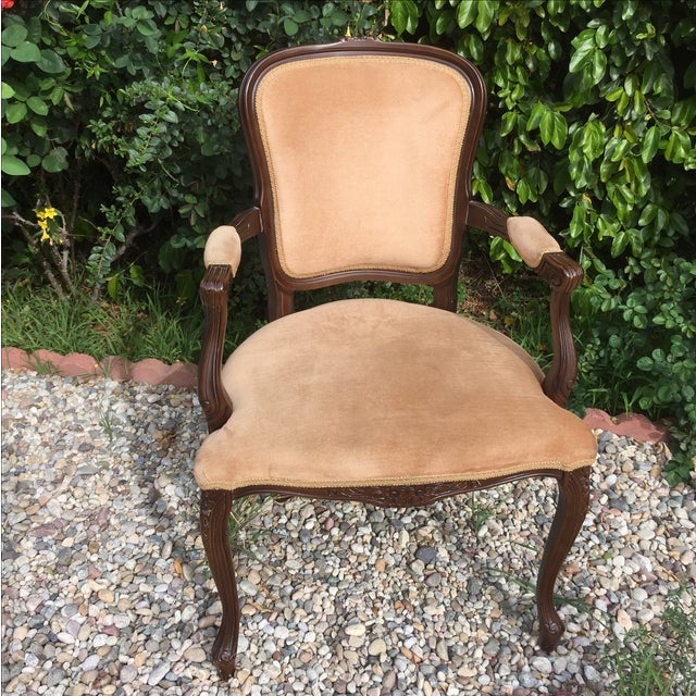 Image of Vintage French Provincial Carved Wood Armchair