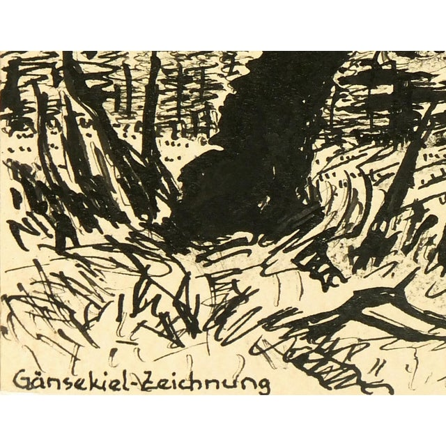 Vintage 1930s Forest Pen and Ink Drawing - Image 2 of 4