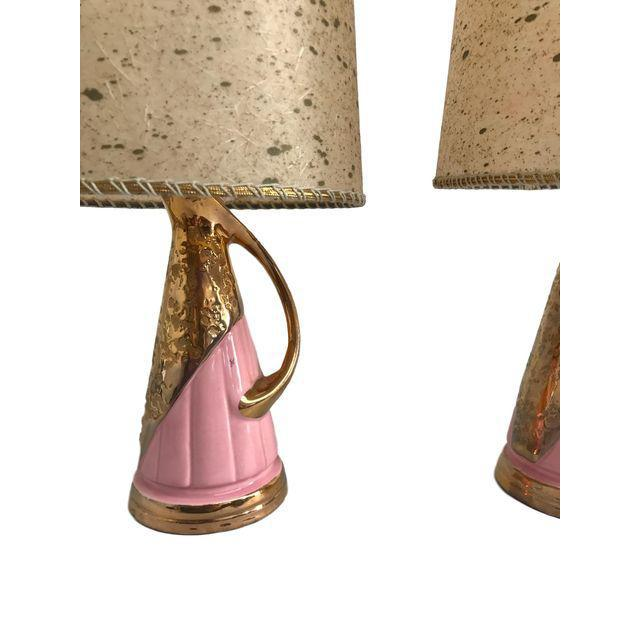 Pink & Gold Vintage Lamps - A Pair - Image 4 of 9